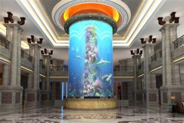 დიდი ცილინდრიანი აკრილის თევზი სატანკო
